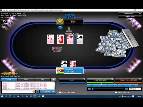 Winning online Poker tournament 888 free roll win