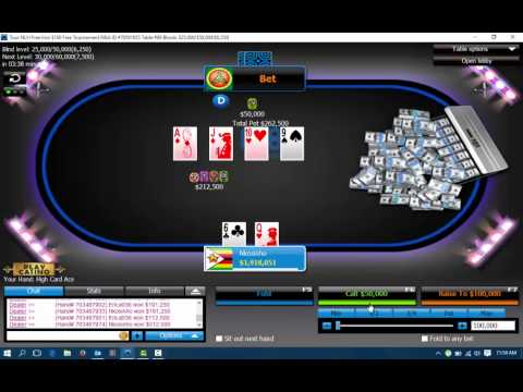 Winning online Poker tournament 888 free roll win