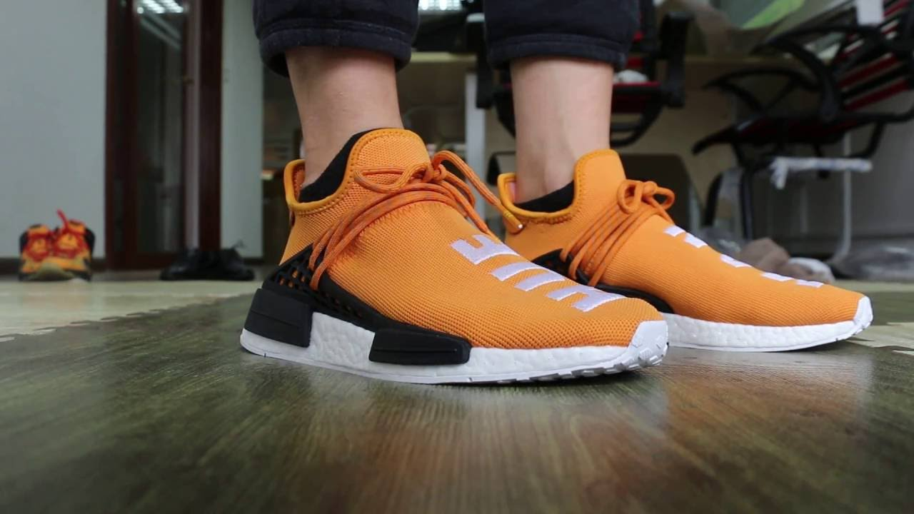 bbfeecfb1fd73 Adidas Human Race NMD x Pharrell Williams Orange On Foot HD Review ...