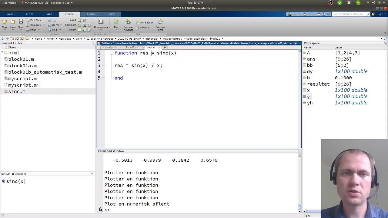 Matlab - Strukturer kode i scripts og funktioner