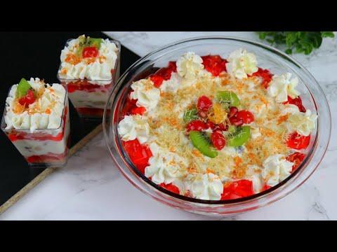 """ঈদে সেমাই দিয়ে নত�ন মজার ডেজার�ট """"সেমাই ট�রাইফেল�  Vermicelli Trifle   Fruits Trifle   Eid Desserts"""