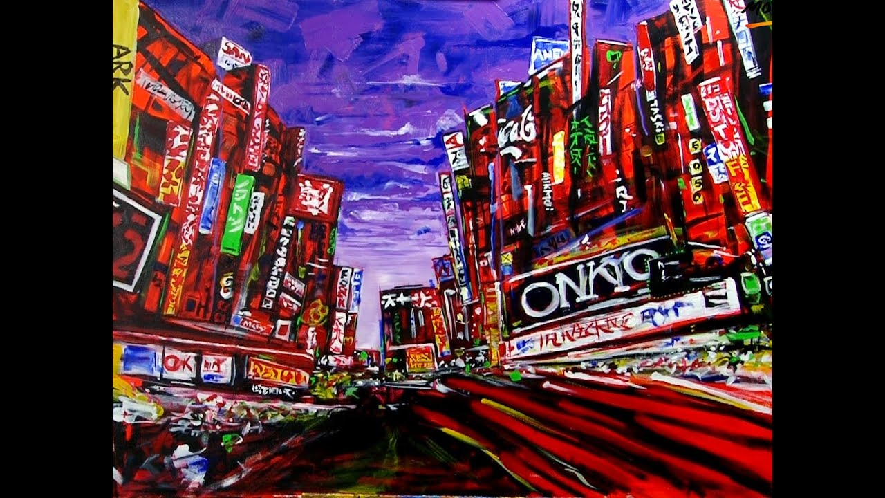 art lesson how to paint an abstract city using acrylic paint youtube