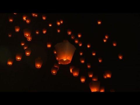 hundreds of lanterns take flight at mid autumn lantern festival