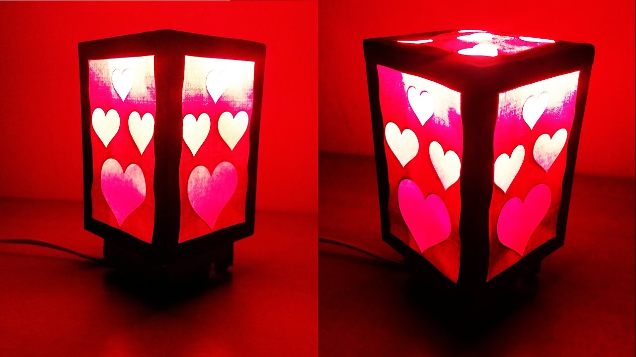 How To Make A Beautiful Love Heart Night Lamp Home Decorating Craft HD
