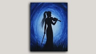 Acrylic Painting - Violinist Silhouette Painting