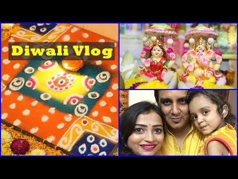Diwali Vlog | Laxmi Puja, Rangoli, Sweets, Decorations, Makeup, Outfit and Family