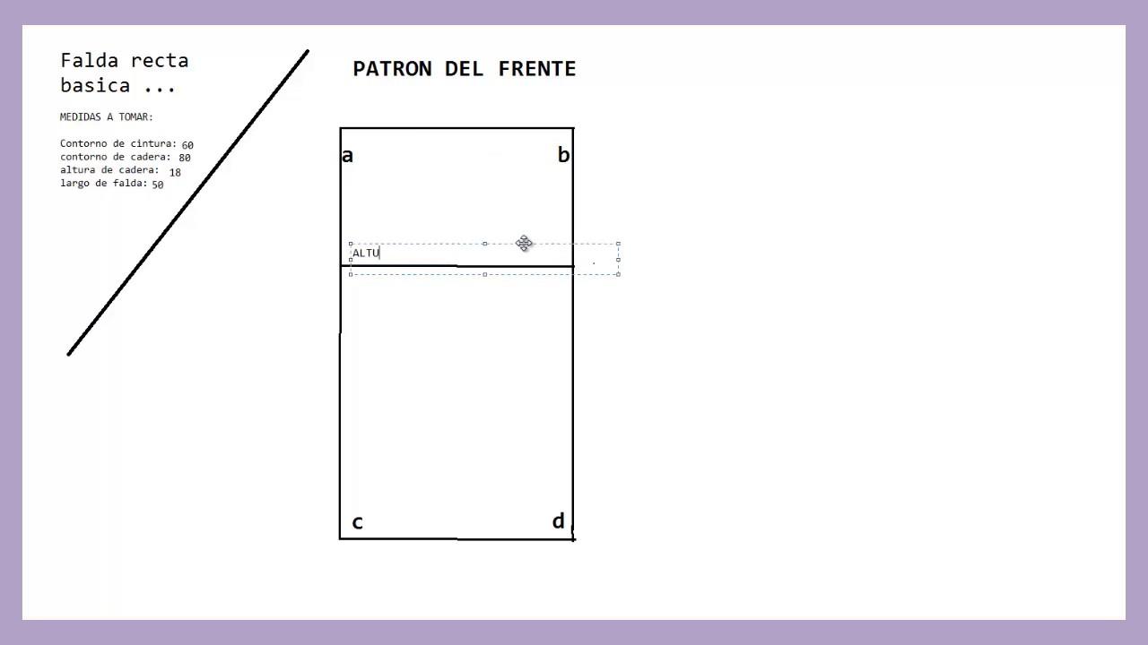 704f3427d Como hacer un patrón básico Falda recta Parte del frente paso a paso/PARTE  1/