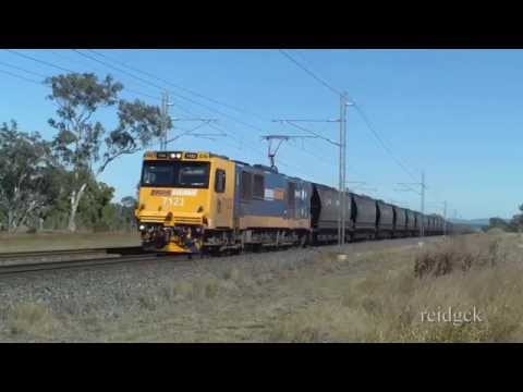 Electric Locomotives on long Coal Train Central Queensland Australia