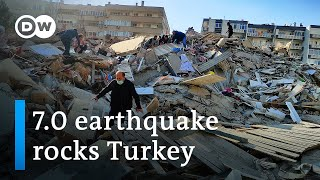 Turkey has been struck by a powerful earthquake off its aegean coast, causing buildings to collapse in the coastal city of izmir. quake's epicenter was n...
