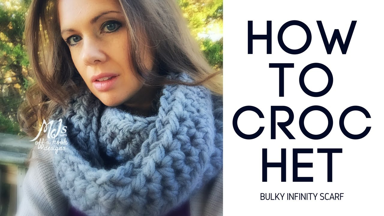 Crochet Scarf Pattern Q Hook : How to Crochet Bulky Infinity Scarf - YouTube