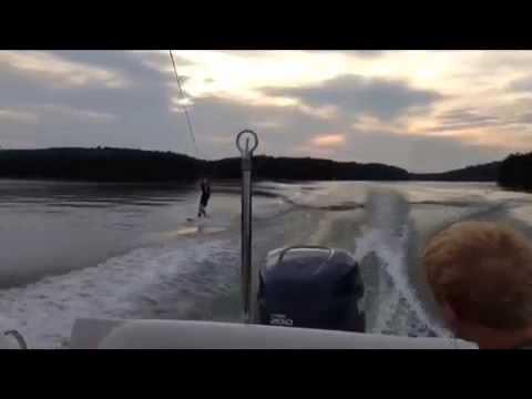 Matthew Lee wakeboarding on Lake Hartwell