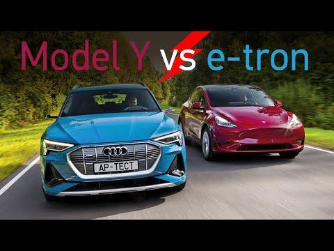 Электриков вызывали? Tesla Model Y и Audi e-tron. Электрокроссоверы по 6 млн рублей. Это будущее?