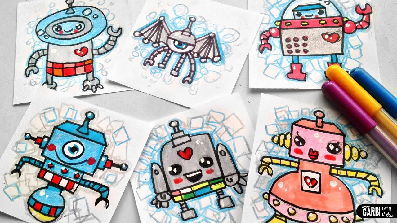 How To Draw Cute Robots Easy And Kawaii Drawings By Garbi Kw Youtube
