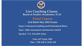 Final Paper 3 AAPE - Topic: Risk Assessment \u0026 Internal control,Morning Session Date:16-04-2021