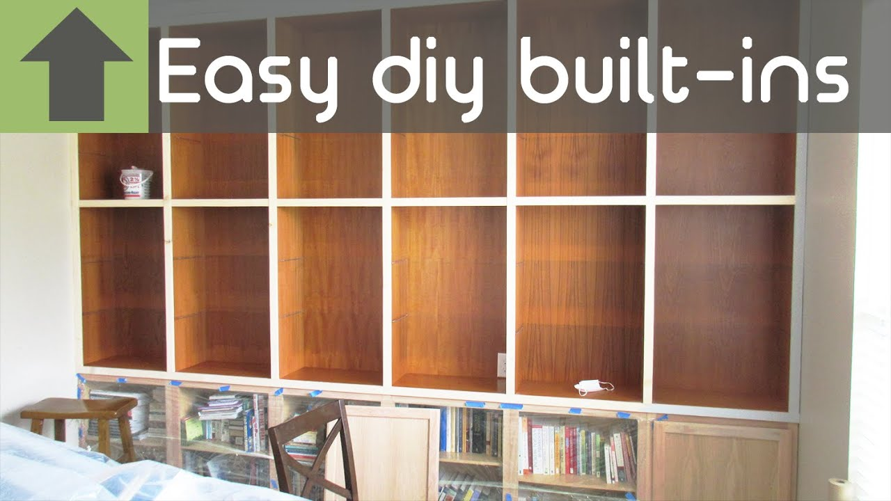 cheap and easy diy built in shelves youtube. Black Bedroom Furniture Sets. Home Design Ideas