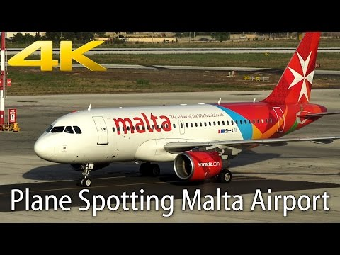 [4K] Plane Spotting at Malta Airport | Nice liveries | 16.08.15