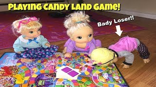 Baby Alive Brianna, Bailey and Juliet play Candy Land