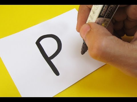 """How to turn Letter """"P"""" into a Cartoon PUSHEEN CAT ! Fun with Alphabets Drawing for kids"""