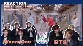 BTS (방탄소년단) & WANNAONE (워너원)  Reaction to PENTAGON - Shine […