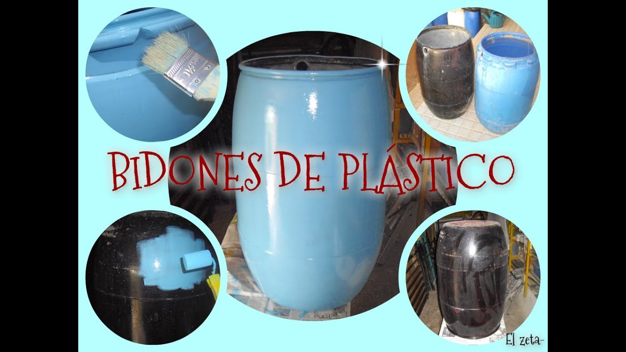 C mo decorar y pintar unos bidones de pl stico con for Plasticos para estanques de agua