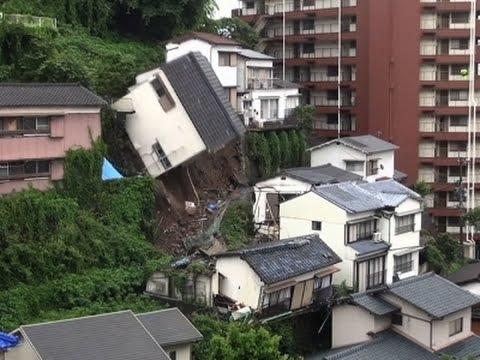 Raw: House Topples Over in Japan after Landslide