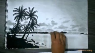 Realistic Island Drawing With Pencil, Charcoal HD
