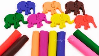 Learn Colors with 8 Color Play Doh Modelling Clay and Cookie Molds | How To Make Play Doh Elephant