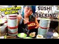 SUSHI PLATE STACKING!100+ Plates Eaten at our Table!! ft. Freakeating WrecklessEating #RainaisCrazy