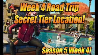 Week 4 ROAD TRIP TIER LOCATION In Fortnite Battle Royale! SECRET WEEK 4 Guide!