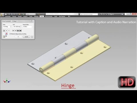 Hinge (Video Tutorial with Audio Narration) Autodesk Inventor