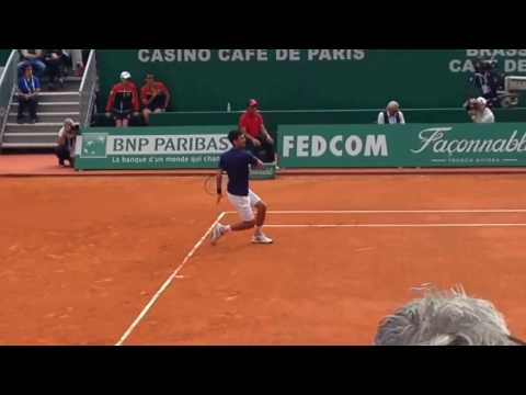 Novak Djokovic court level vs Giles Simon 2017 Monte Carlo Rolex Masters