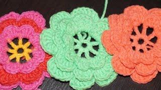 Вязание крючком объемного цветка  ///  Crochet flower surround scheme(Вязание крючком объемного цветка по схеме! Ставьте класс! Делитесь этим видео! Подписывайтесь на канал!..., 2014-10-13T12:55:45.000Z)