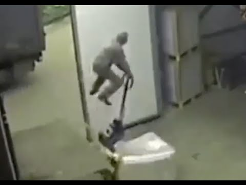Unloading Truck Fail Faceplant Launches Old Guy Up In The Air