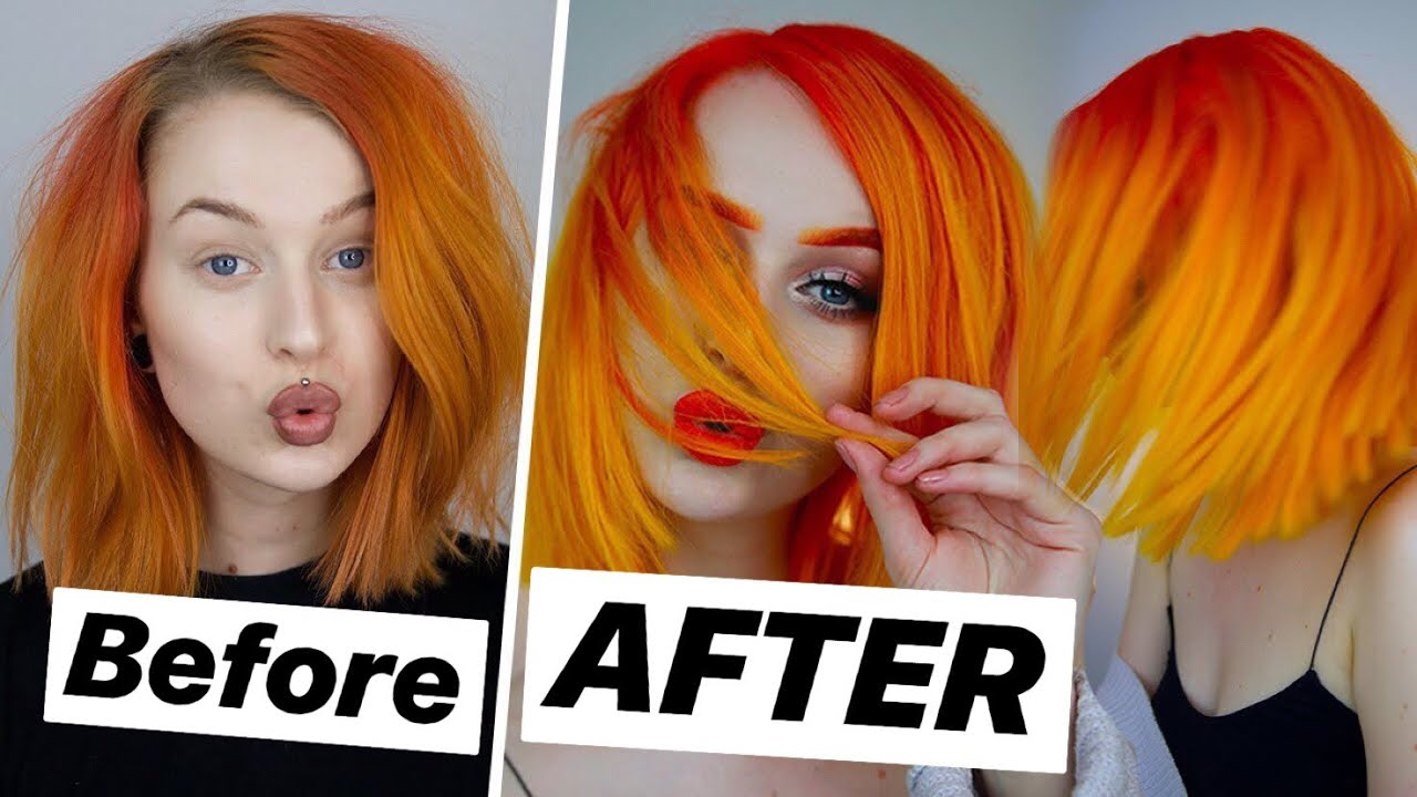Hair Makeover At Home Bright Yellow Orange Ombre Evelina For