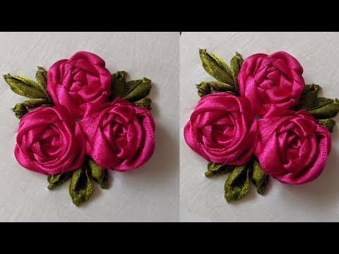 Hand Embroidery Flower Design Tutorial | Ribbon Flower Design Stitch | Easy Flower Embroidery Stitch