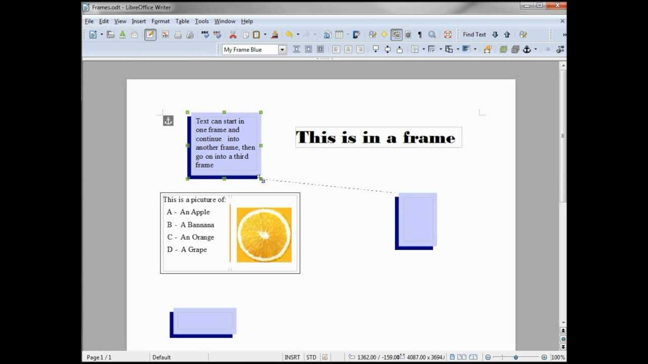 LibreOffice-Writer (75) Frames -- Continuous Text - YouTube