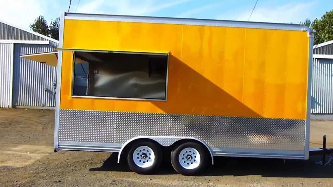 For Sale Yellow Food Cart-Concession Kitchen 8×16 - YouTube