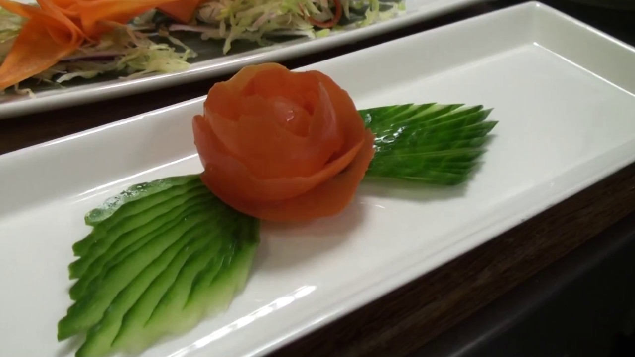 FUN:) Skill 030: Garnish Skills - Tomato Rose with Cucumber Leaves