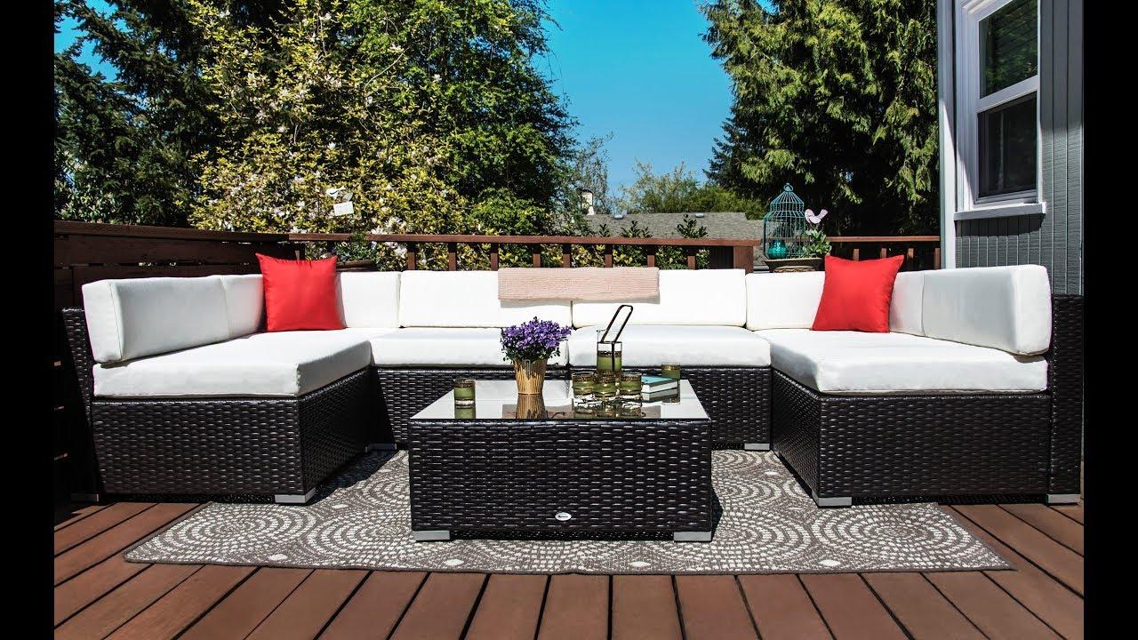 Outsunny 7 Piece Outdoor Patio Rattan Wicker Sofa Furniture Set