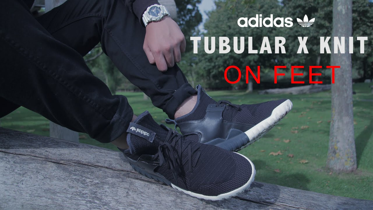 official photos b70d7 a8137 Adidas Tubular X Knit  Up Close + On Feet - YouTube