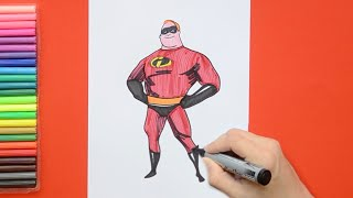 How to draw and color Mr. Incredible