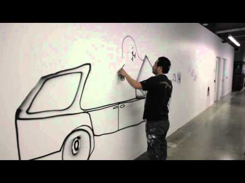 Raw Footage - David Choe taking a stroll around Facebook HQ with some paint (Pt 2)