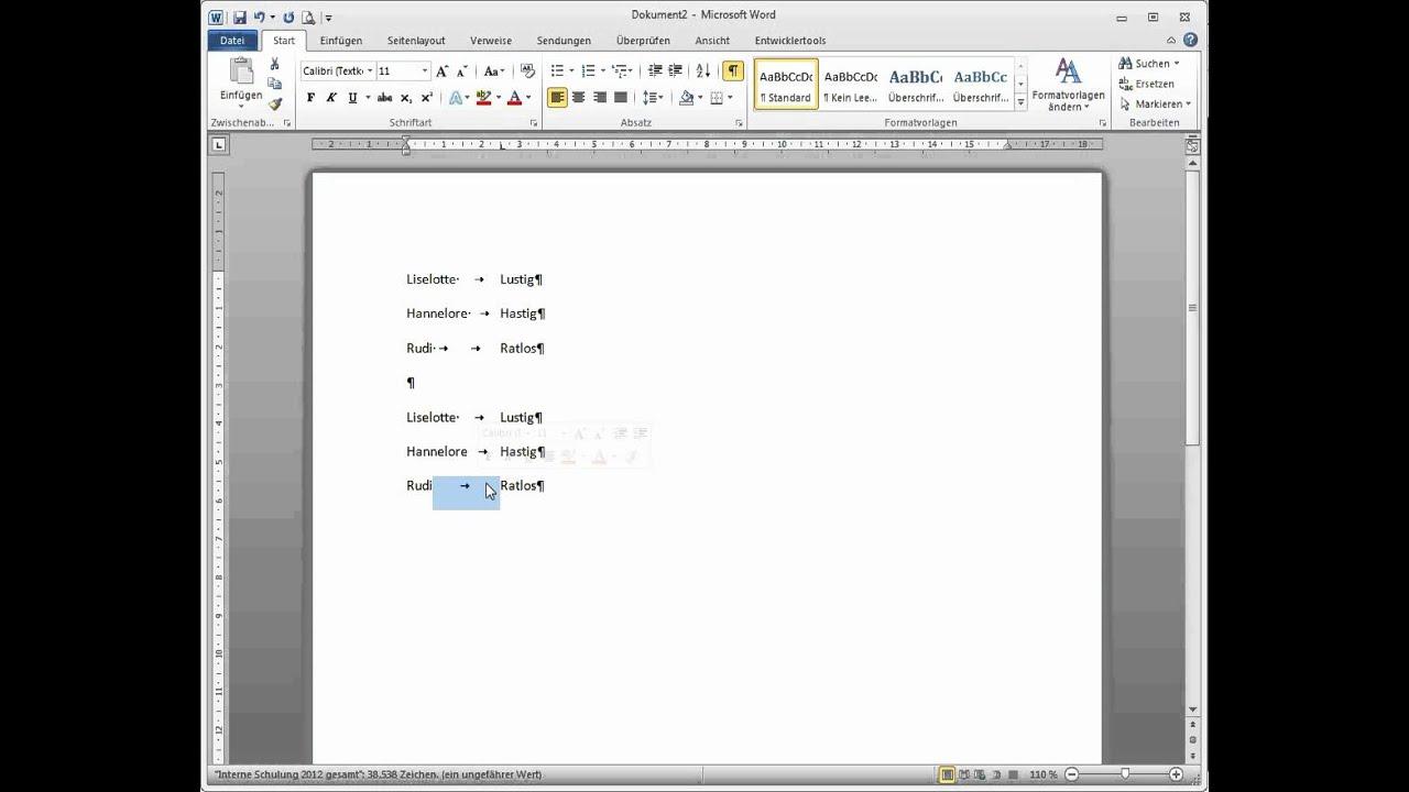 Word 2010 Tabulatoren und Tabellen - YouTube