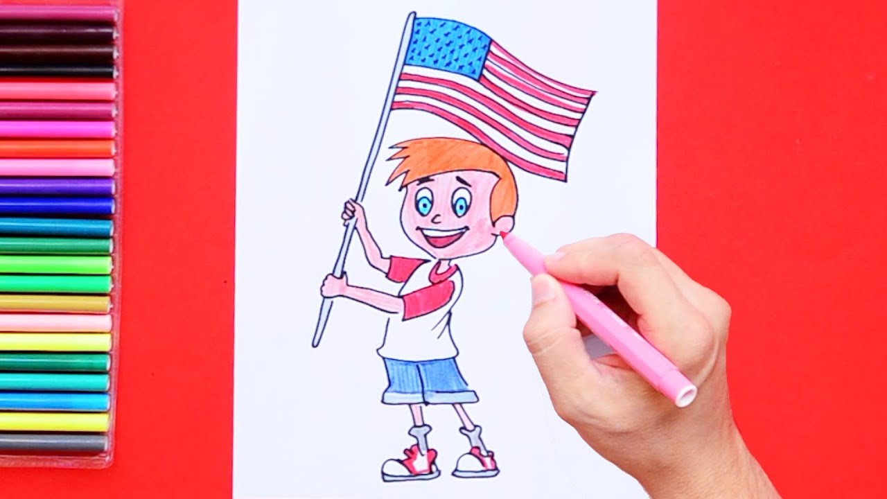 How To Draw And Color Boy Waving Usa Flag Youtube