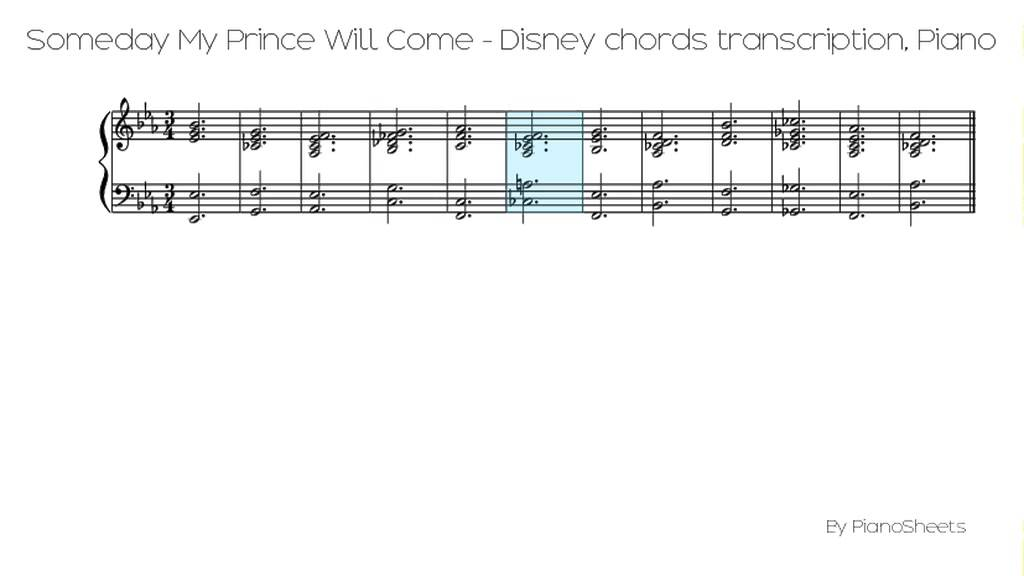 Someday My Prince Will Come Disney Chords Transcription Piano