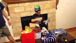 9 year old gets a gift of diapers