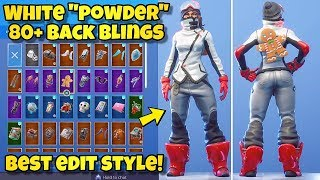 "NEW WHITE ""POWDER"" SKIN Showcased With 80+ BACK BLINGS! Fortnite Battle Royale (WHITE POWDER COMBOS)"