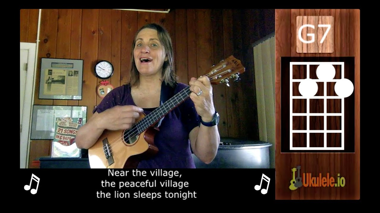Easy Ukulele Songs - How to Play The Lion Sleeps Tonight on Ukulele - 21  Songs in 6 Days