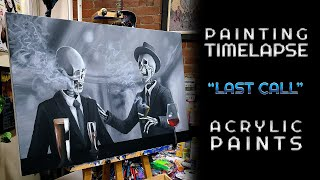 """Painting """"Last Call""""  With Acrylic Paints - Timelapse"""