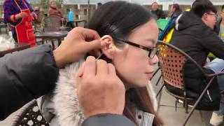 Chinese street ear picking. Ear Cleaning for a lady China ASMR